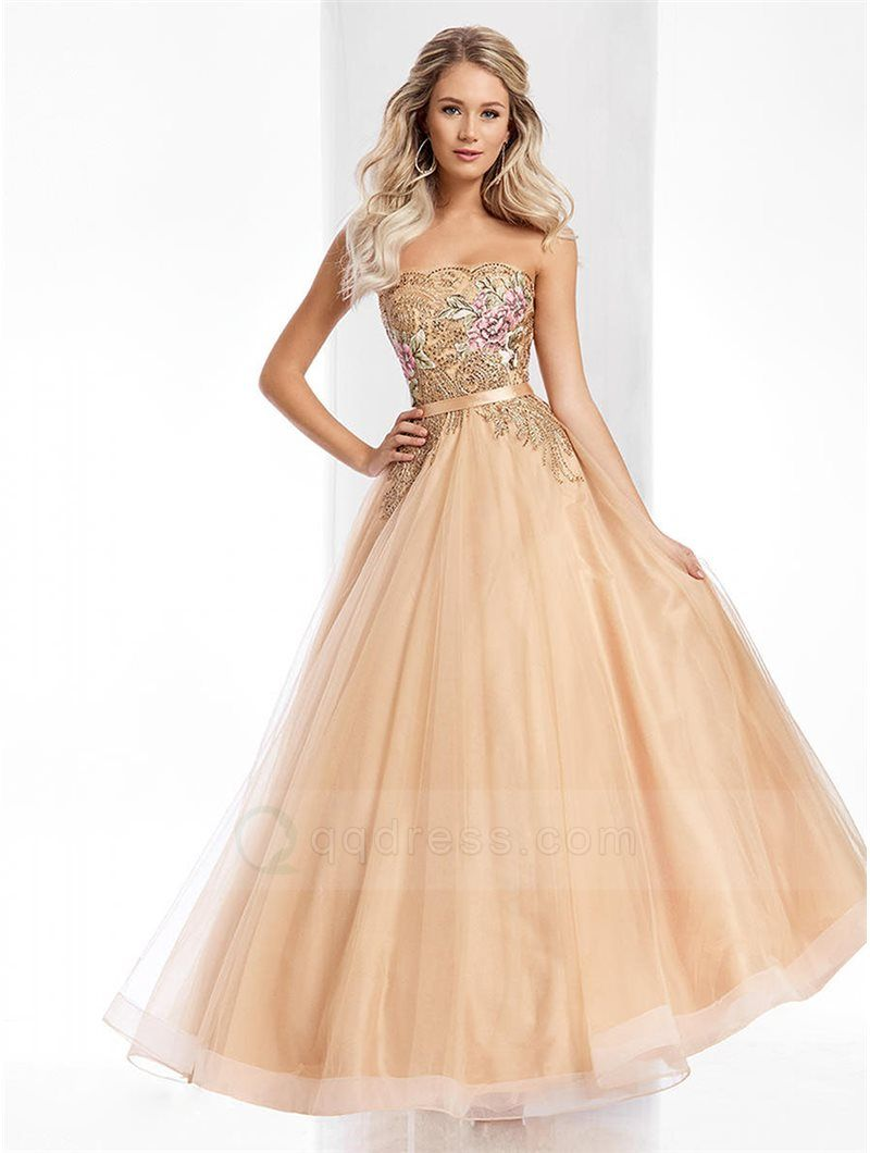 Strapless Lace Up Back Beaded Floral Embroidery Tulle Prom Ball Gown with Sash