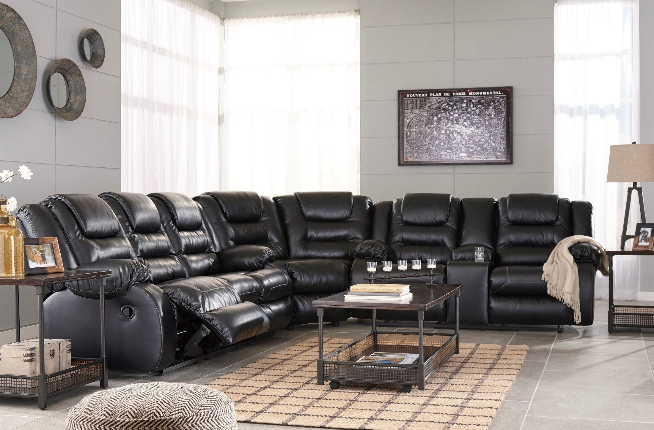 Vacherie Black Double Reclining Sectional In 2020 Reclining Sectional 3 Piece Sectional Sofa Sectional Sofa With Recliner