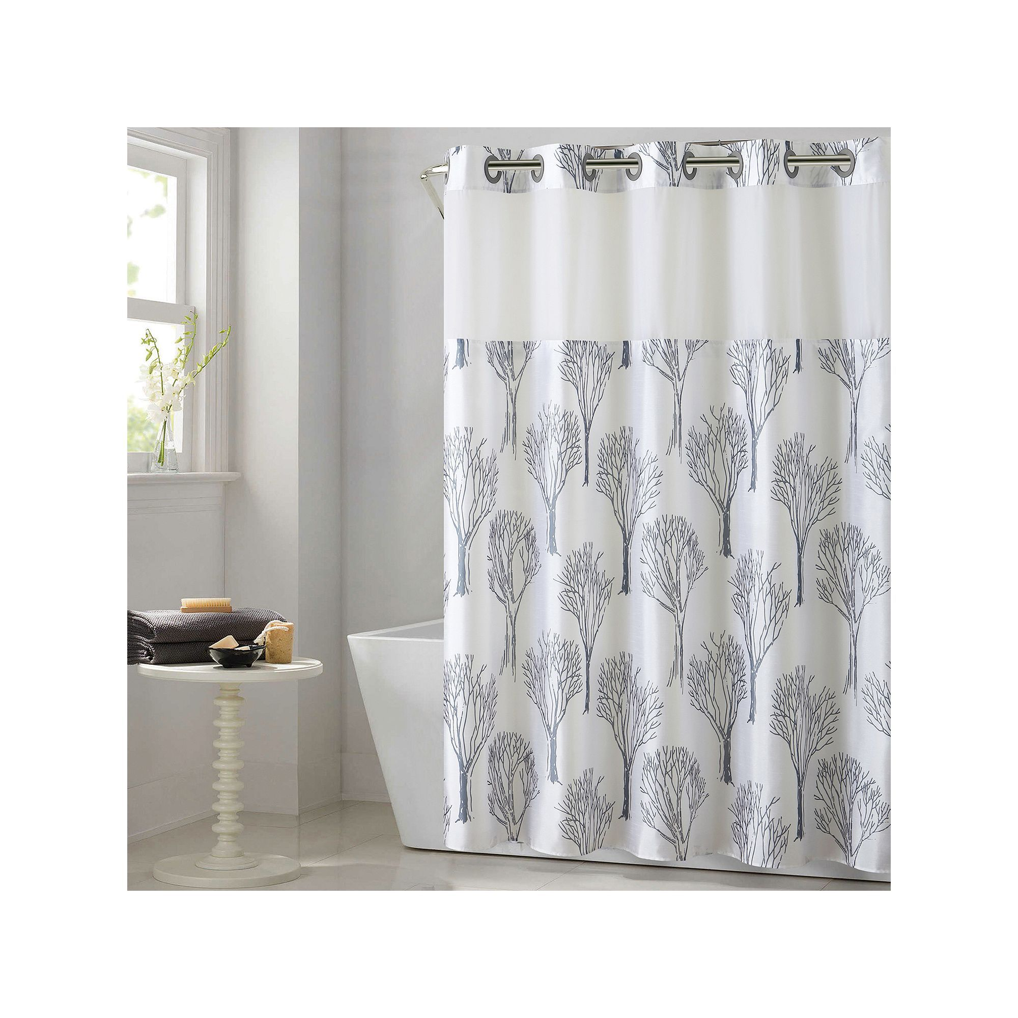 Hookless Modern Tree Shower Curtain With Liner Grey