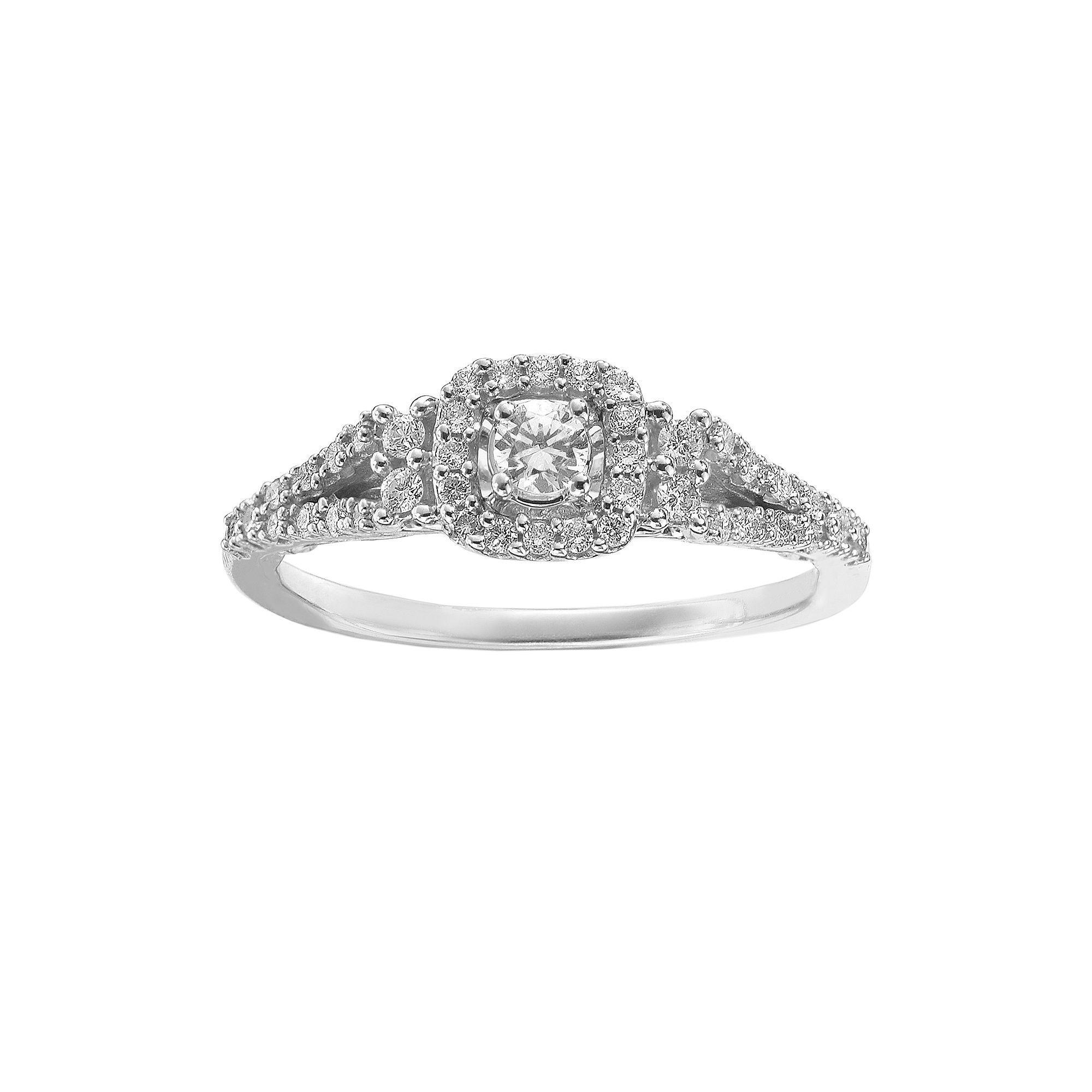 Simply Vera Vera Wang Diamond Halo Engagement Ring in 14k White