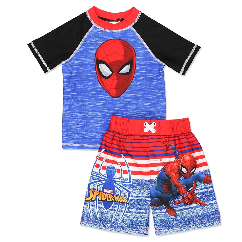UPF 50 Toddler//Little Kid//Big Kid Sun Protection Marvel Spider-Man Boys Swim Trunks and Rash Guard Set