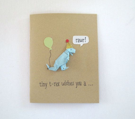 Origami Dinosaur Birthday Card