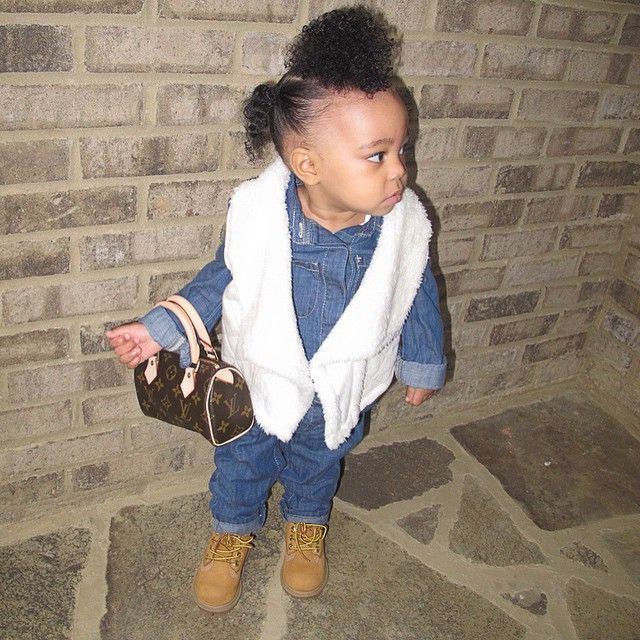 Cute Kid Mixed Race Louis Vutton Handbag Timberland Boots