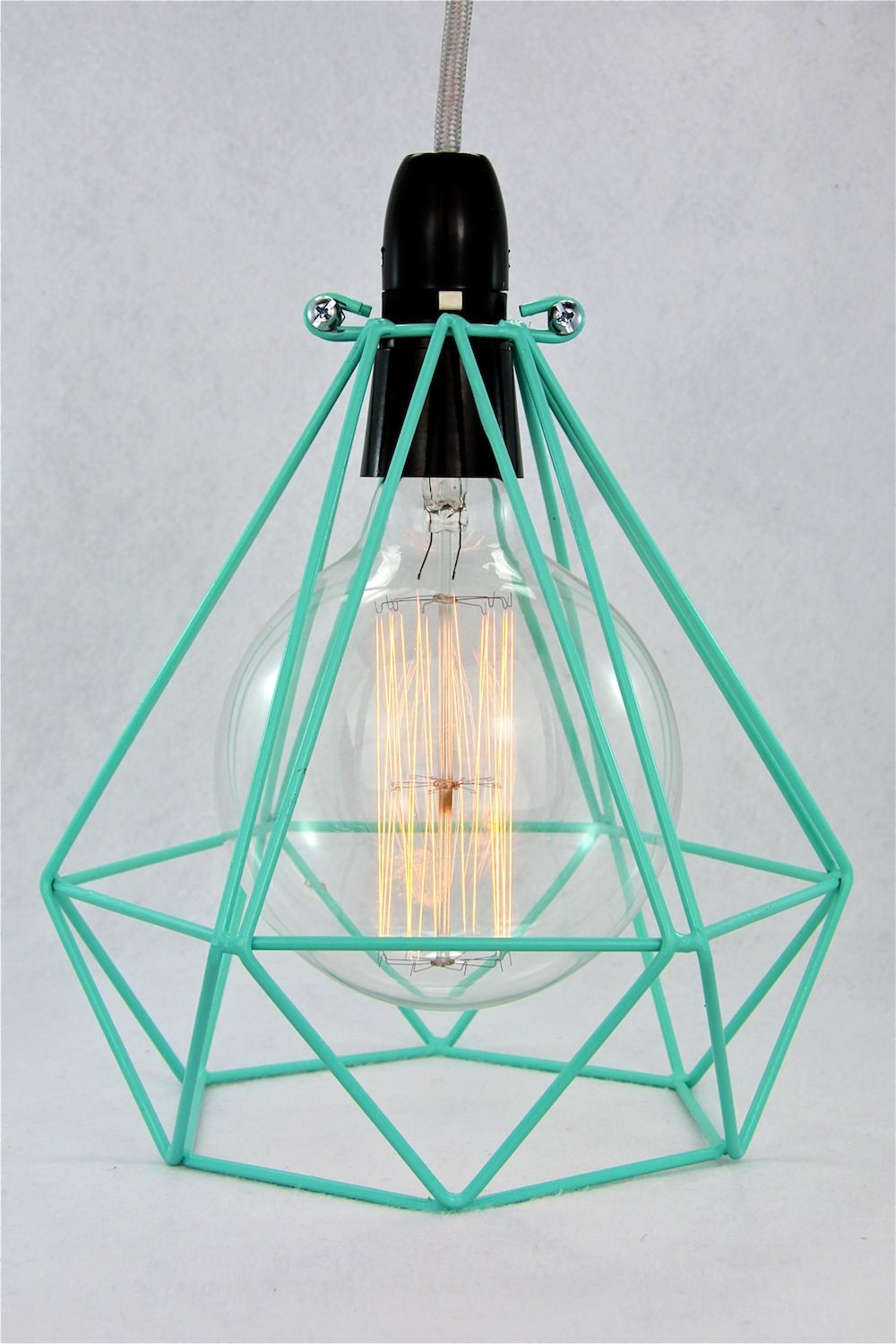 Diamond wire lamp Cage pendant cloth cord trouble light chandelier ...