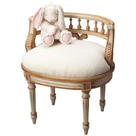Is It The Chair Or The Bunny That I Like Hmmm Distressed Wood Vanity Seat With Turned Legs And Cotton Upholstery Produc Painted Vanity Furniture