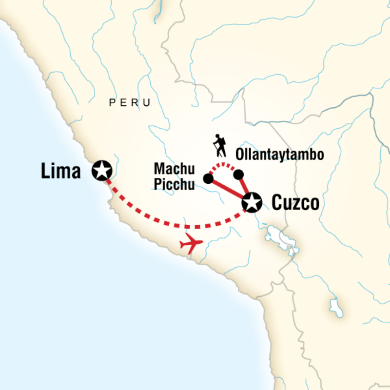 Map of the route for Inca Discovery