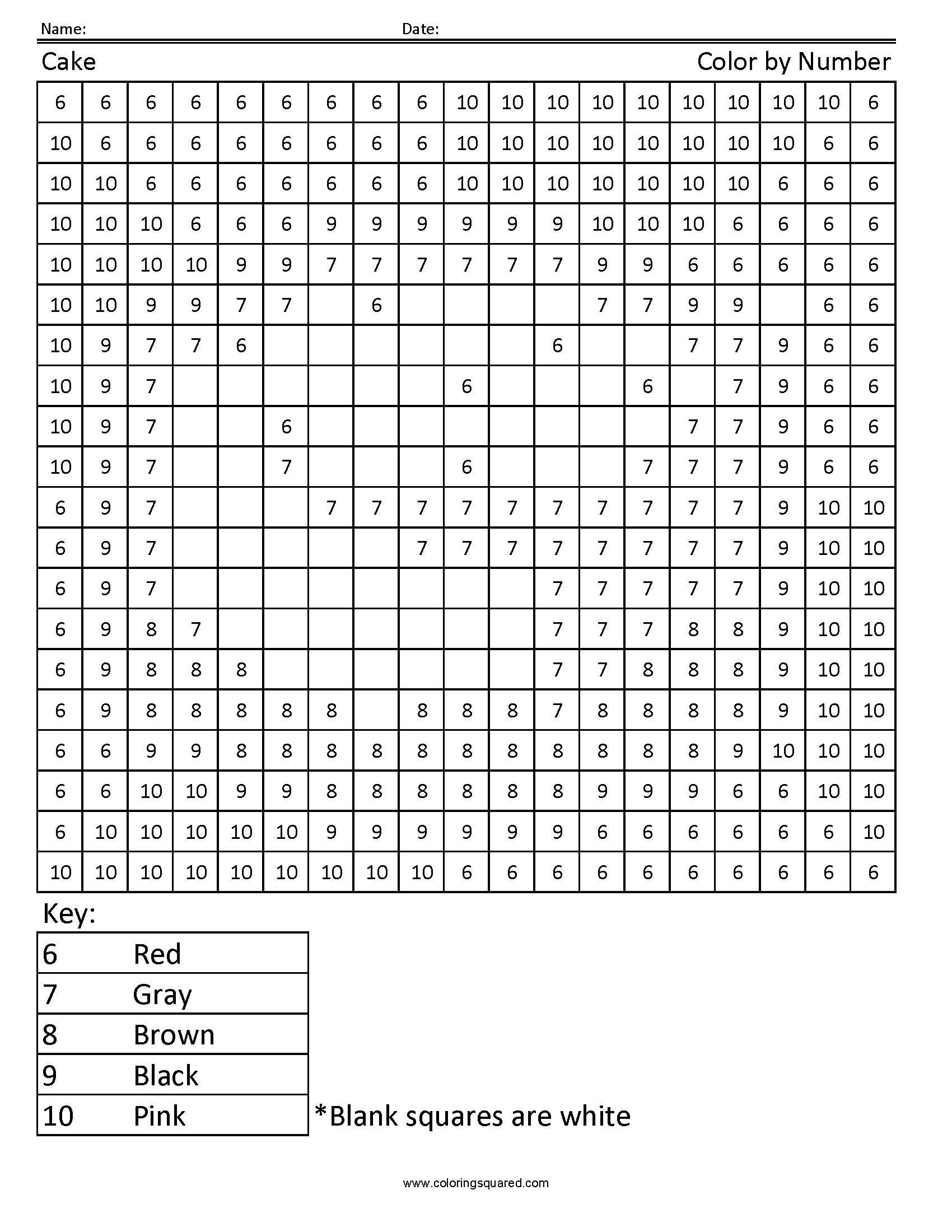 Cake Color By Number Worksheet