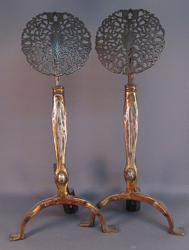Reserved Gilt Bronze Andirons Art Nouveau French Style Art
