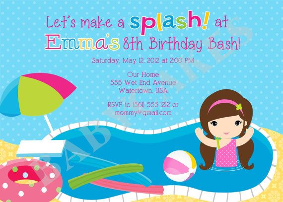POOL PARTY invitation invite Pool party birthday invitation Pool - birthday invitation pool party