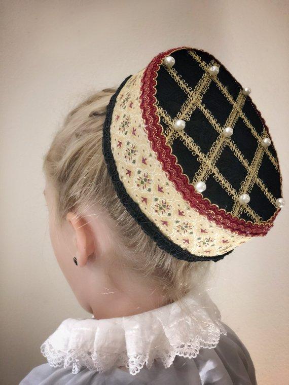 3dd43b68d31bb Renaissance Elizabethan Pillbox Style Hat with Pearl Embellishments ...