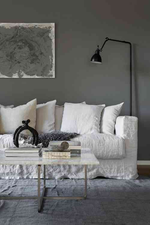 Salon couleur taupe, gris anthracite ou gris clair   Interieur, Witte banken, Woonkamer makeover