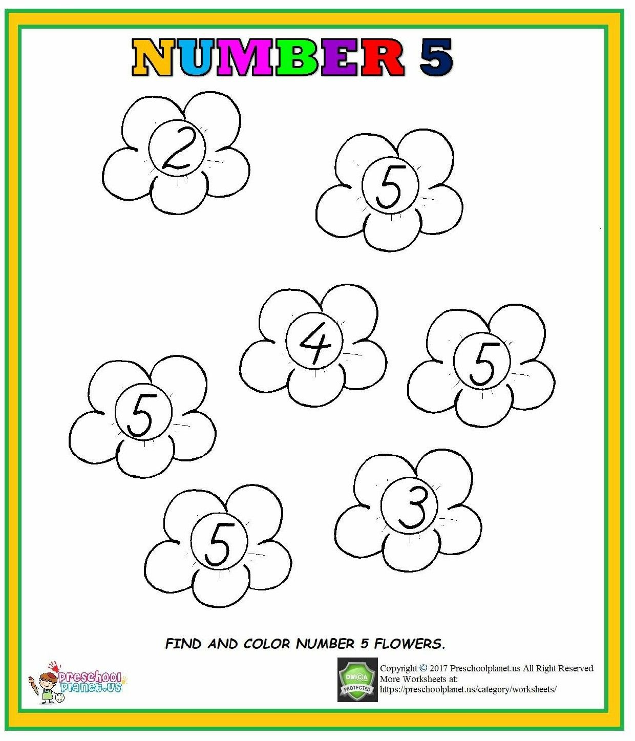 Number 5 Worksheet For Preschool Kindergarten Goruntuler