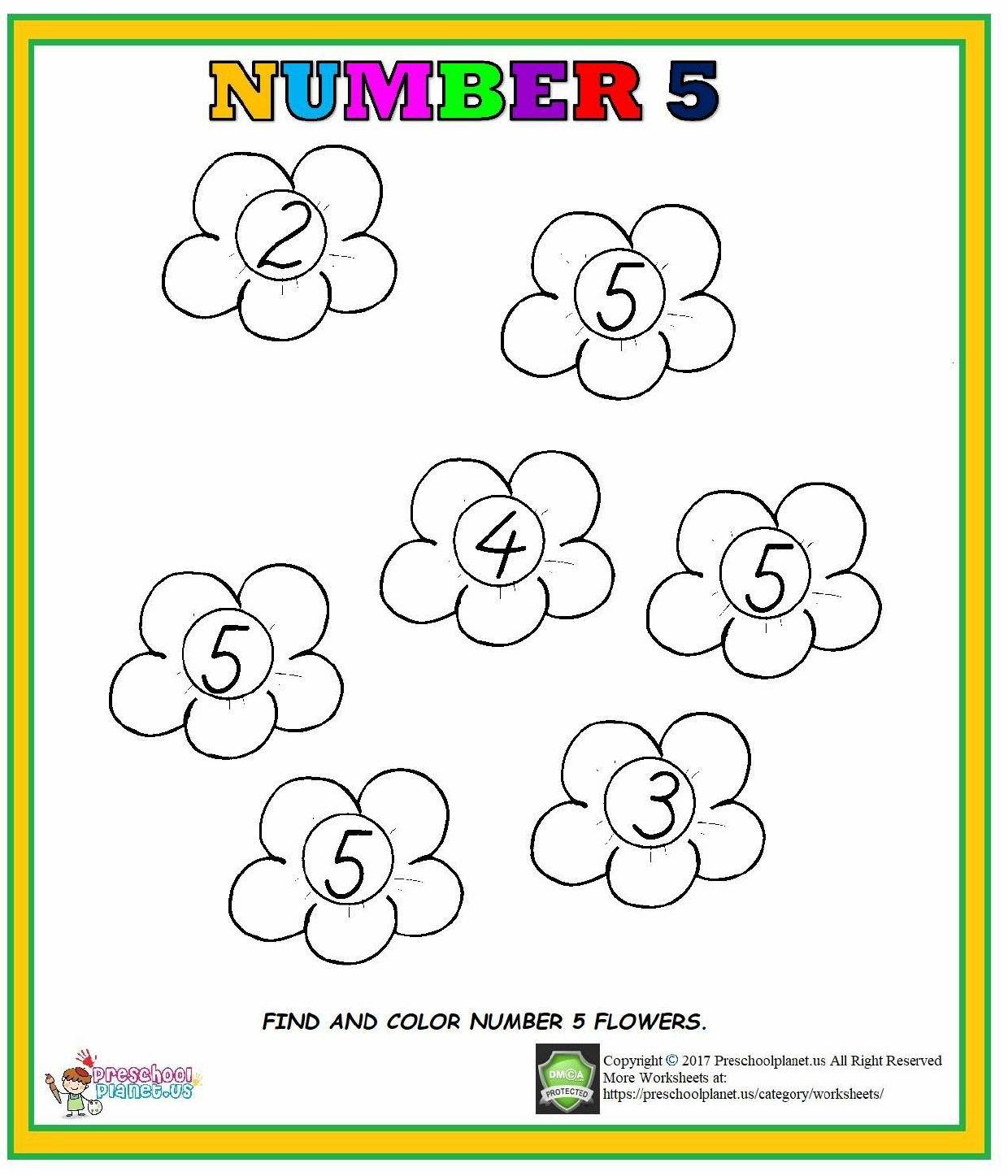 Number 5 Worksheet For Preschool Kindergarten Goruntuler