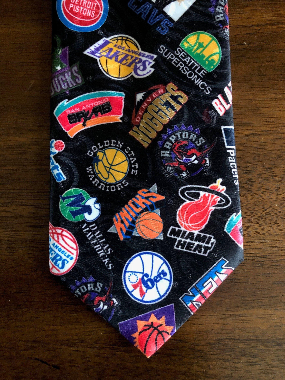 Basketball necktie vintage 1994 nba logos novelty tie