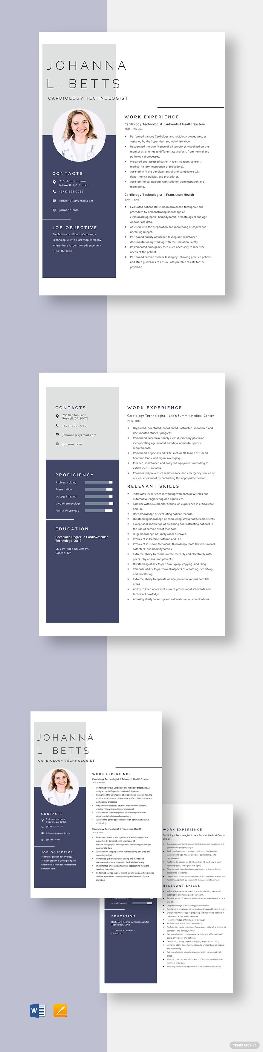 Cardiology Technologist Resume Template In 2020 Executive Resume Template Resume Template Resume