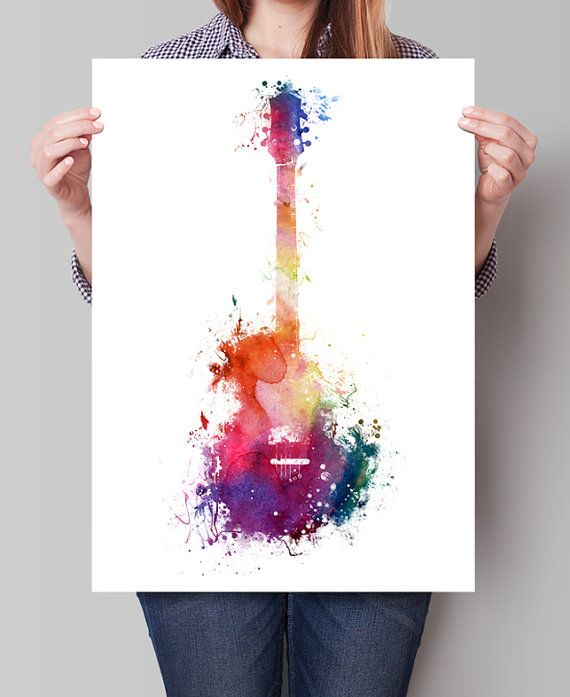 Funky Guitar Art Music Art Music Wall Art Watercolor Painting