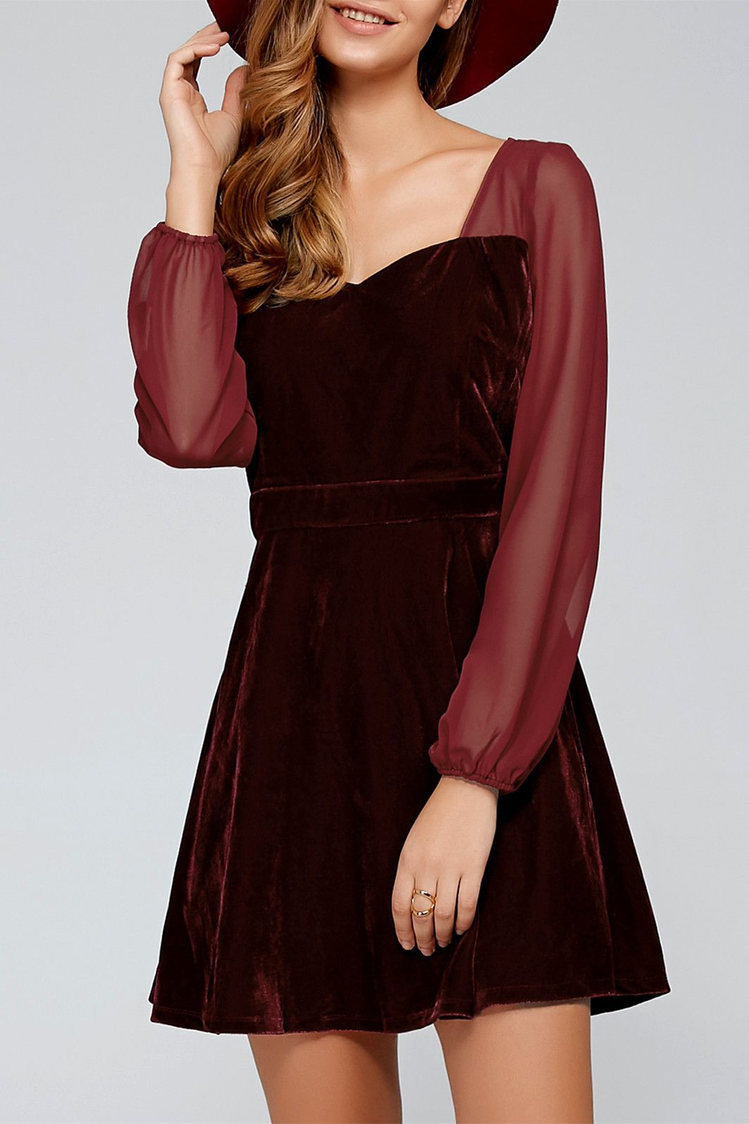 sheer sleeve velvet dress long sleeve dresses pinterest