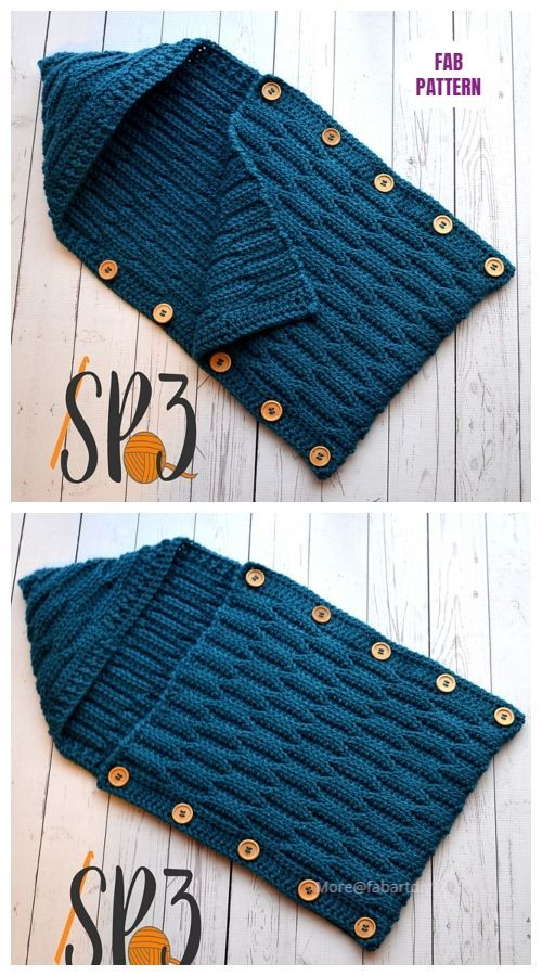 Photo of Tığ işi düğme yukarıya dalgalar kapşonlu koza kroşe desenleri #crochet…