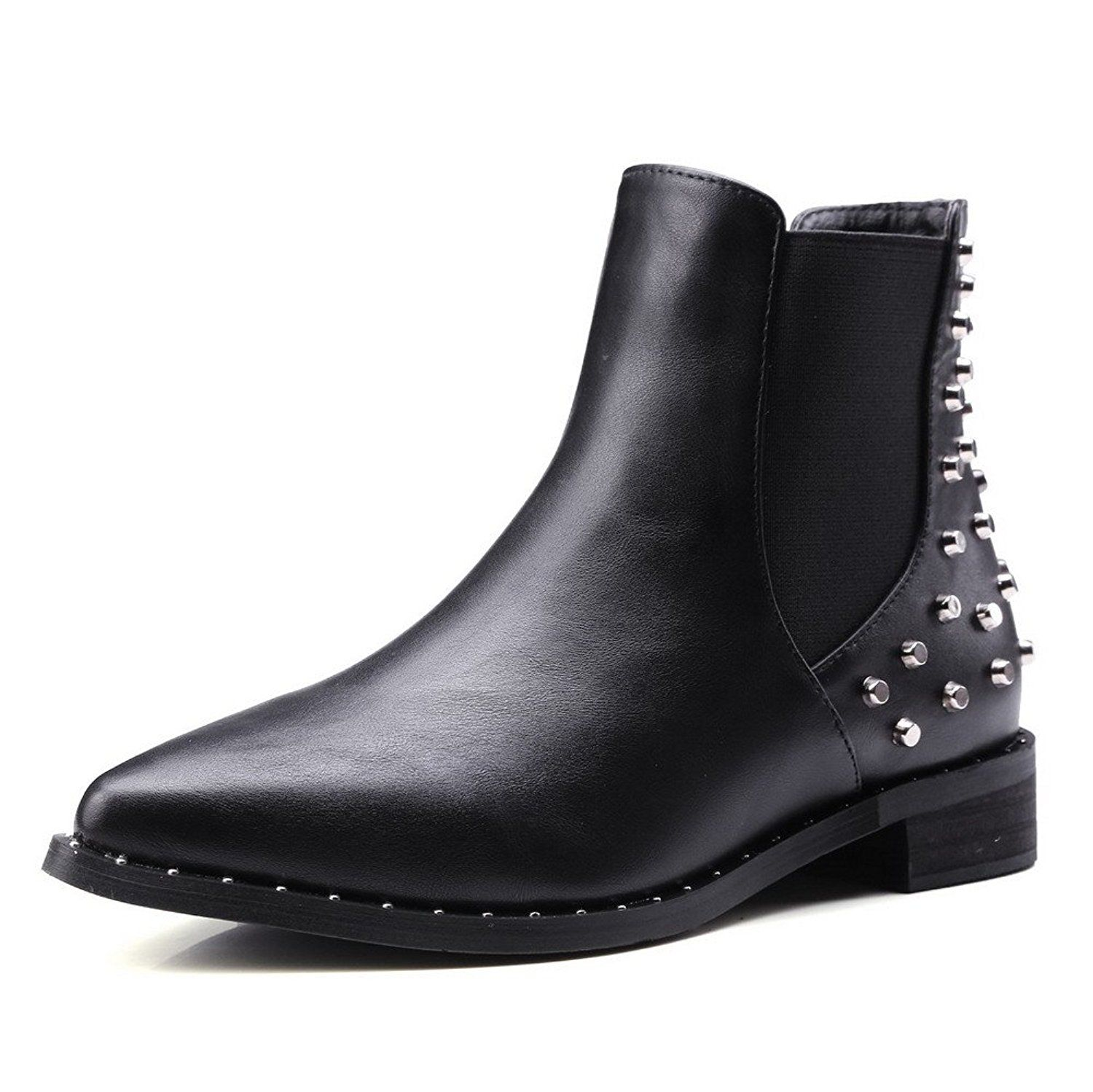Women's Pull-On Pointed Closed Toe Low-Heels PU Low-Top Boots