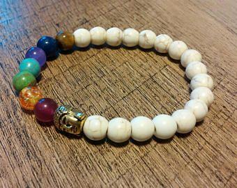 White Natural Stone Chakra Healing Bracelet, 7 Chakra stretch bracelet, Reiki bracelet, Yoga bracelet, Meditation, Buddha