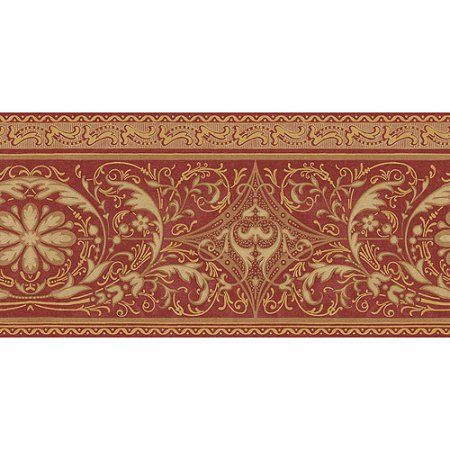 Blue Mountain Arabesque Wallpaper Border Regal Red And Gold