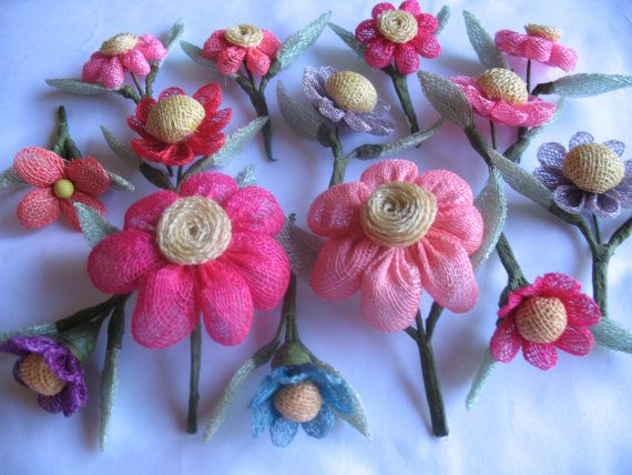 VINTAGE BURLAP FLOWERS by Toide on Etsy - Perfect for my projects