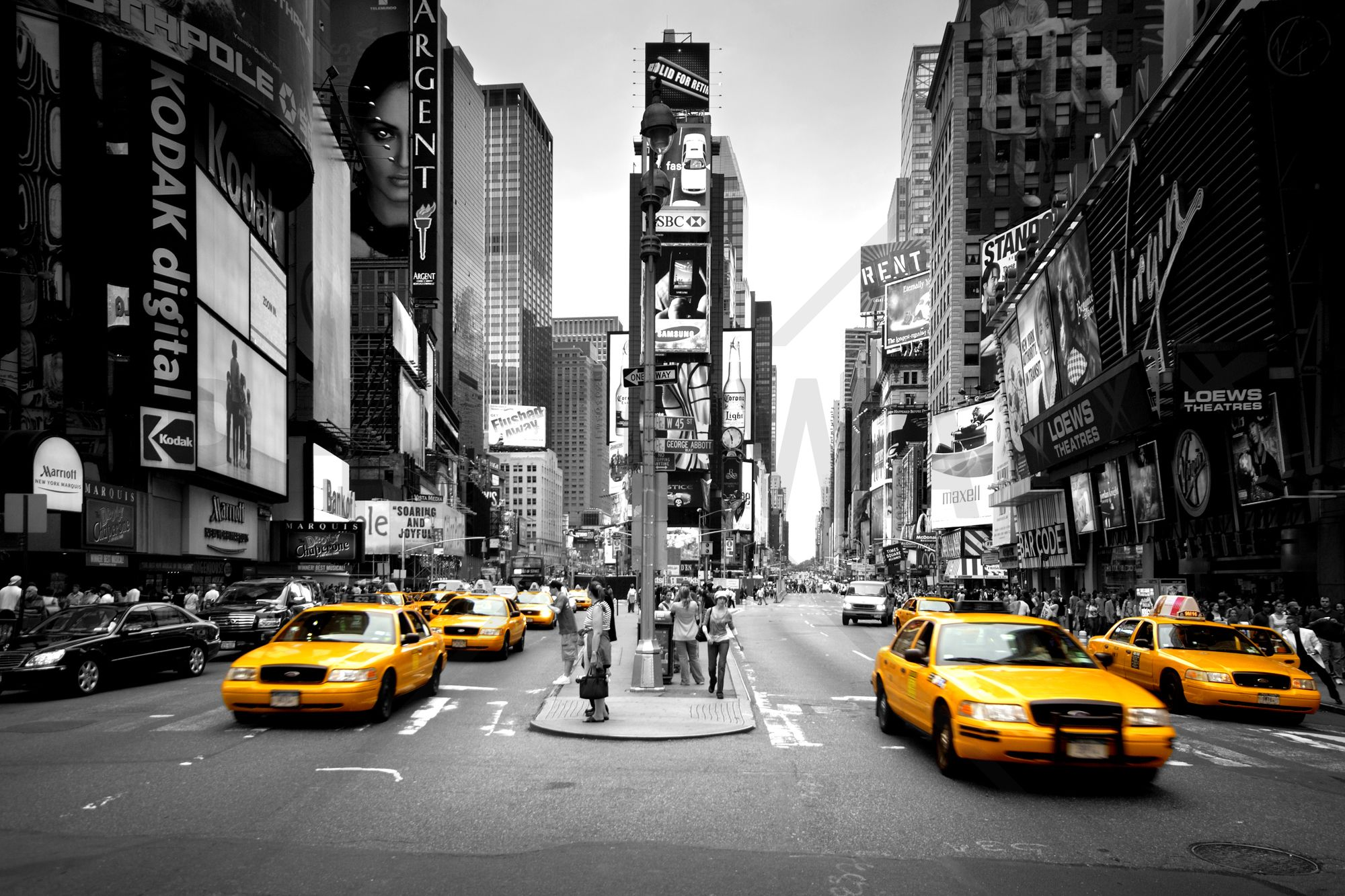 New York Wallpaper For Bedrooms Times Square Cabs Colorsplash Wall Mural Photo Wallpaper