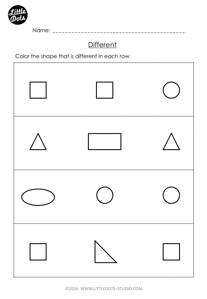 Free Same and Different Worksheet for Pre-K | Pre k math ...