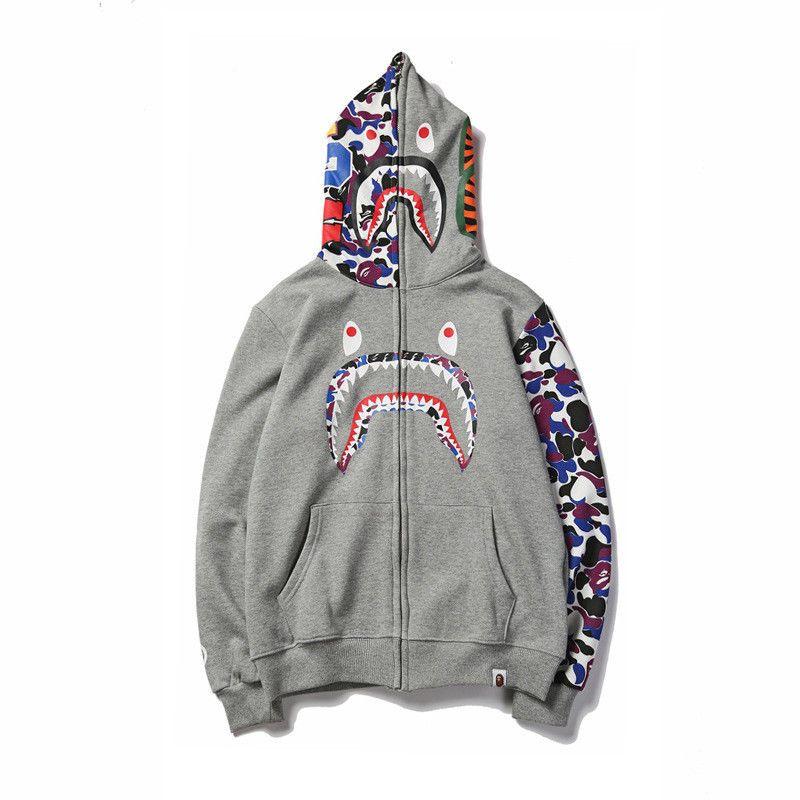 3928bd7ead52 JAPAN Bape A Bathing Ape Men s Shark Head Sweats Jacket HOODIE BAPE ...