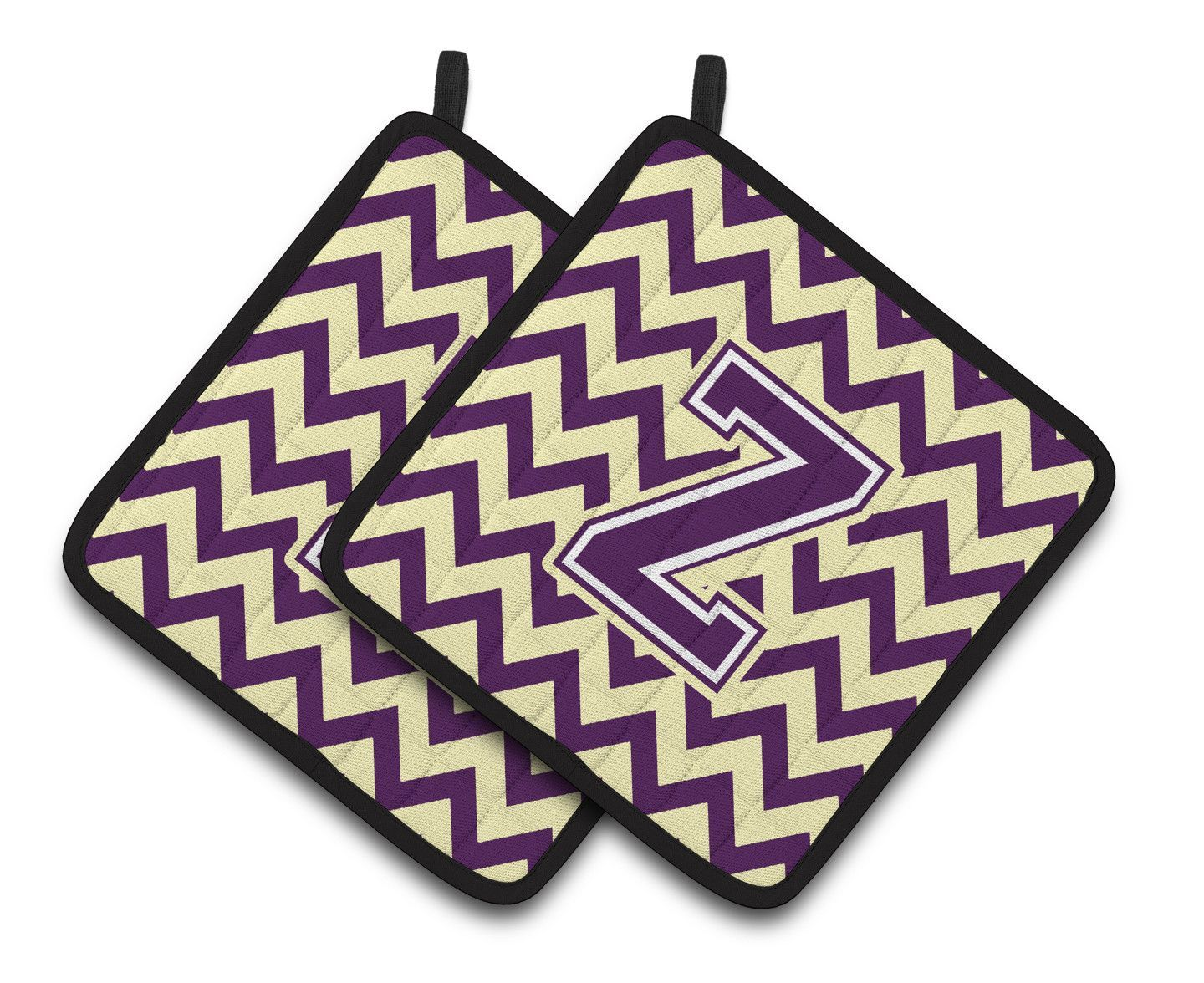 Letter Z Chevron Purple and Gold Pair of Pot Holders CJ1058-ZPTHD