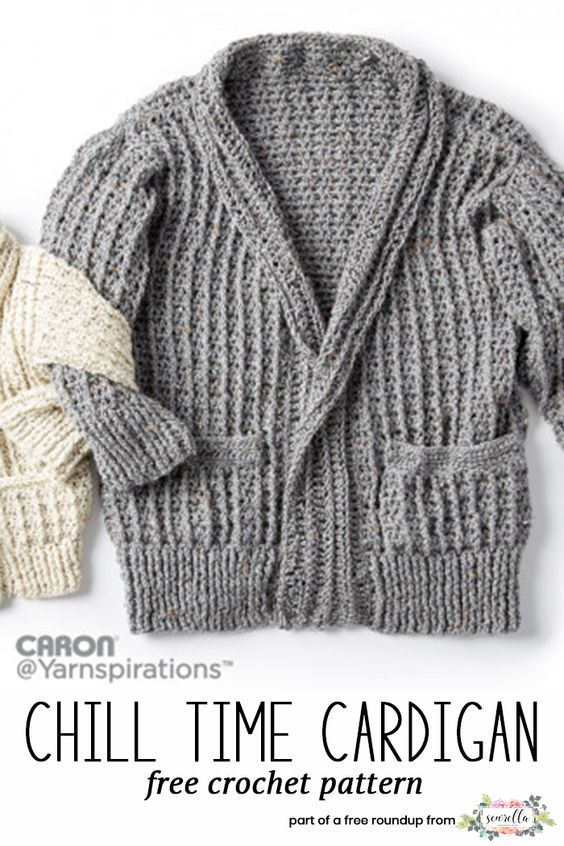 245020a4c58c7c Get the free crochet pattern for this Crochet Chill Time Cardigan Sweater  from Caron featured in my husband-approved crochet sweaters for men FREE  pattern ...