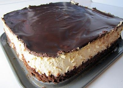 Peanut Butter Cheesecake with a Brownie Crust! OMG!