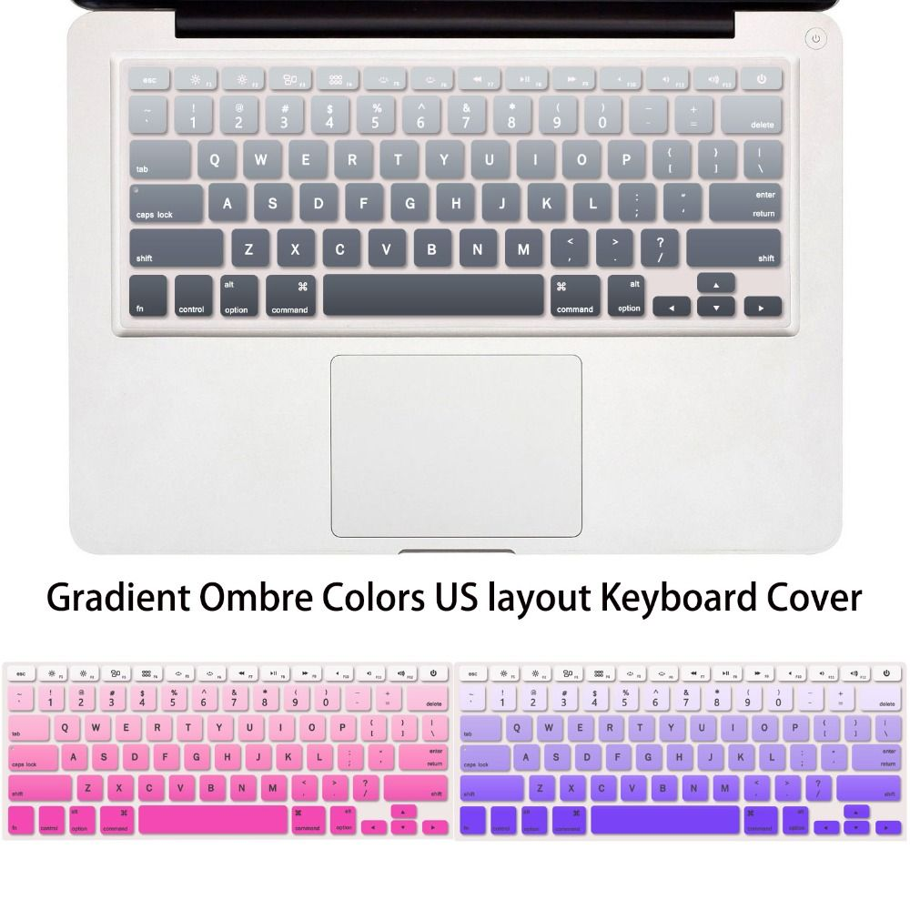 Gradient Ombre Colors US layout Silicone Keyboard Skin Cover for ...