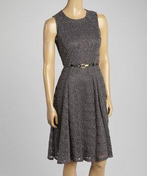 Another great find on #zulily! Dark Gray Texture Belted Sleeveless Dress by Sharagano #zulilyfinds