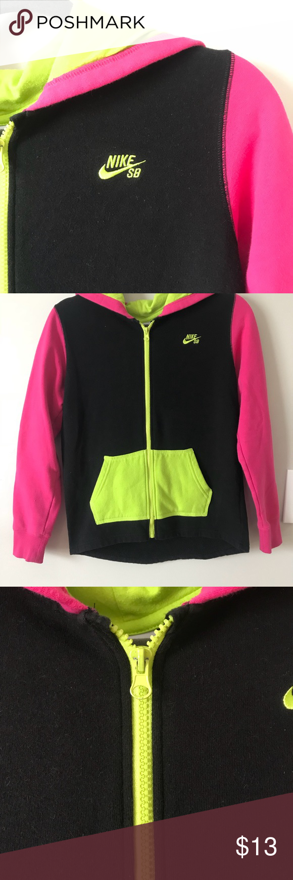Nike SB zip up black, neon pink and neon green