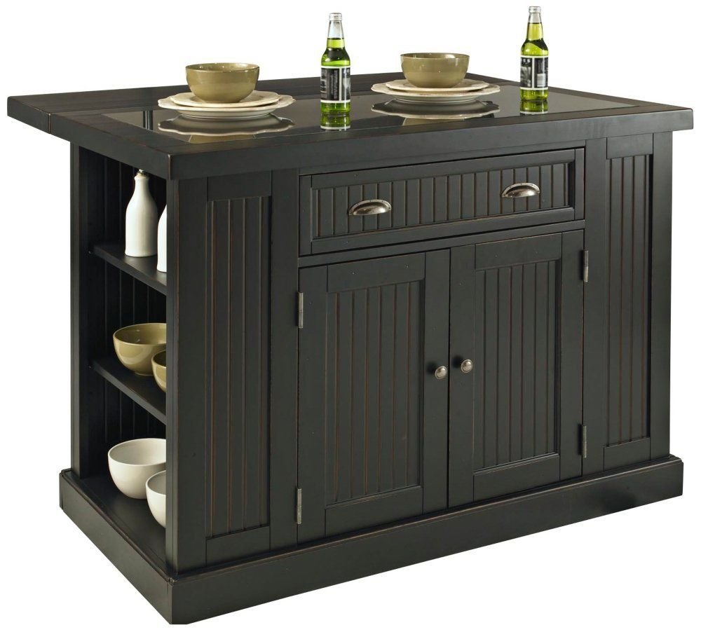 Home Styles 5033 94 Nantucket Kitchen Island Distressed Black Finish