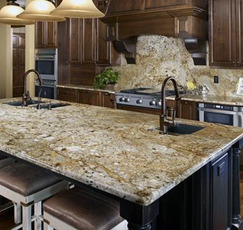 Dark Stained Cabinets With Golden Crystal Granite Granite Countertops Kitchen Kitchen Backsplash Designs Replacing Kitchen Countertops