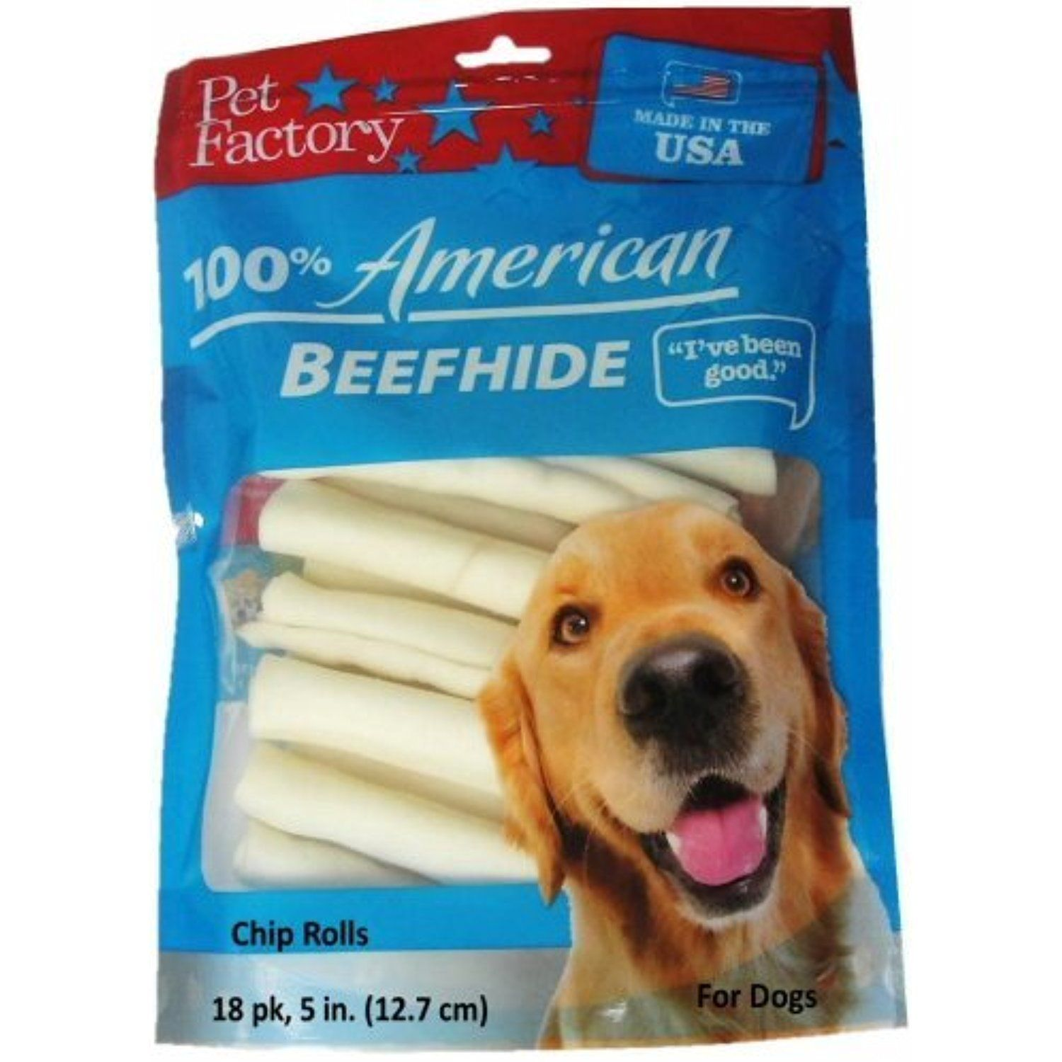 Pet Factory U S A Beef Hide Chip Rolls Chews For Dogs 18 Pack