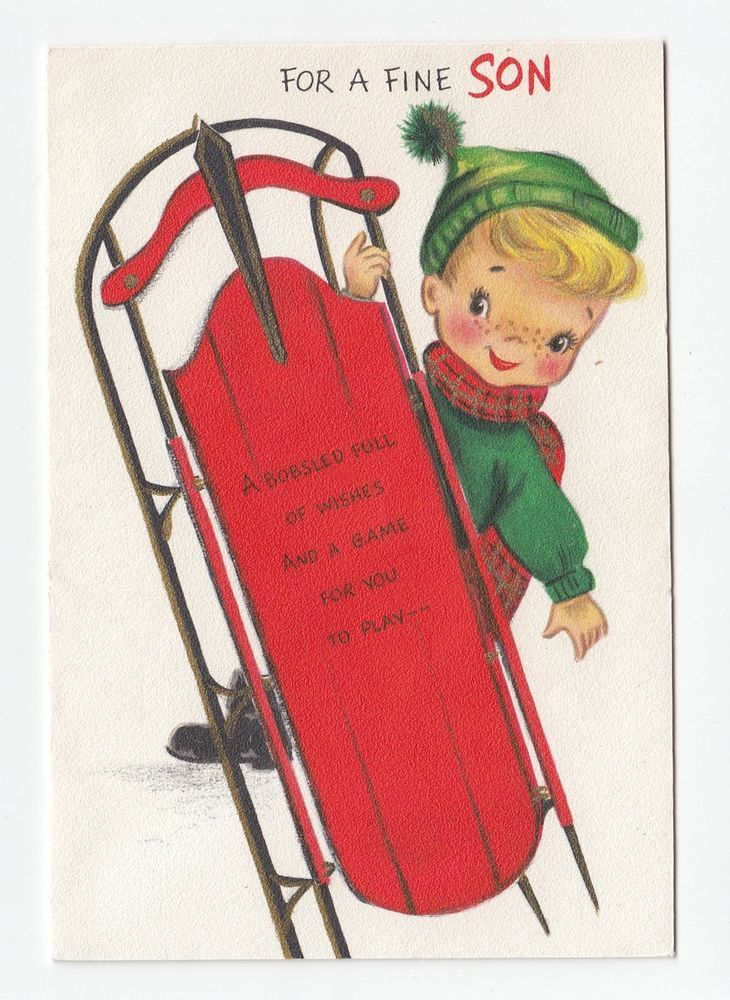 Vintage Greeting Card Christmas Cute Little Boy Sled Hallmark 1950s