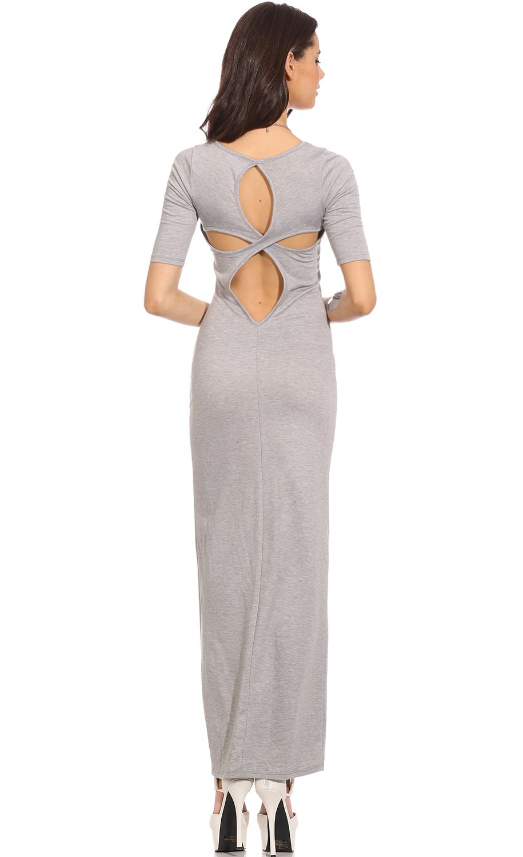 Grey short sleve open back bodycon maxi dress casual
