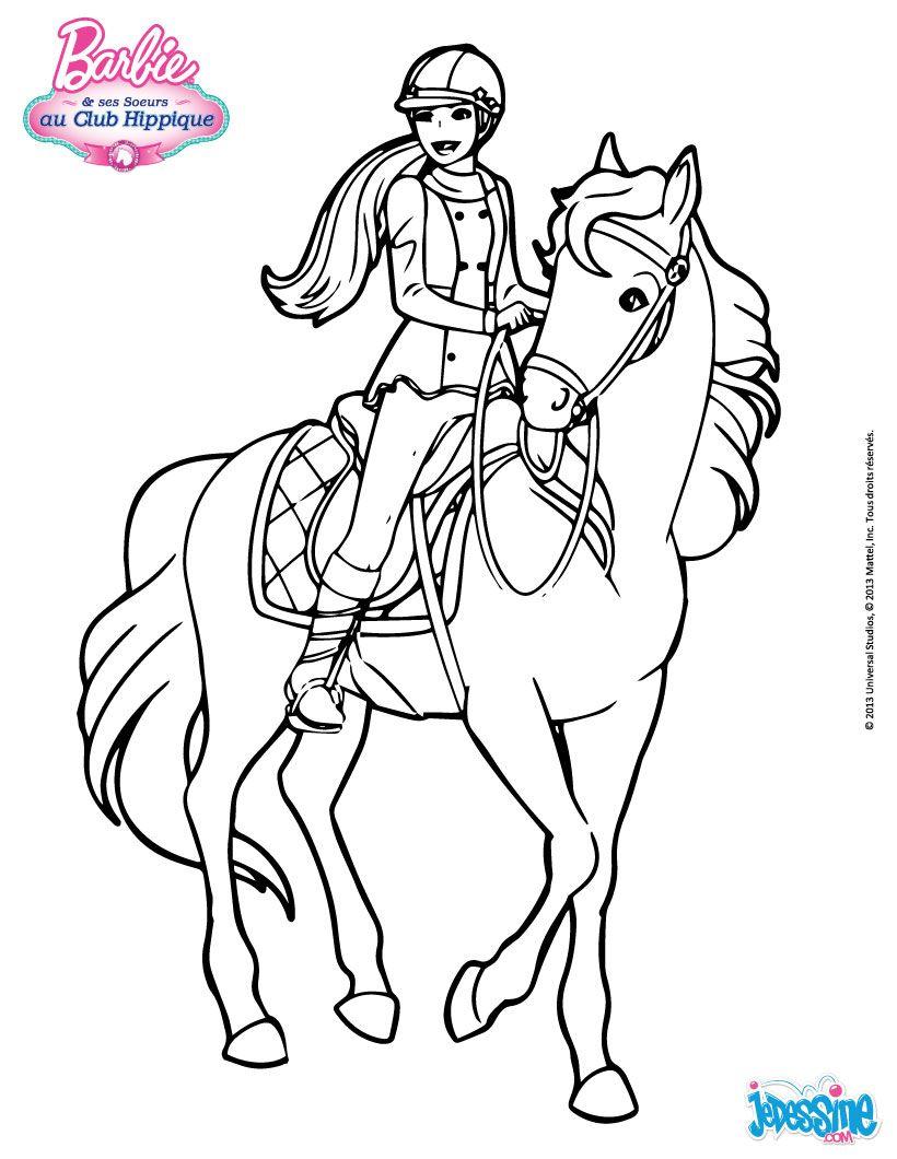 Http Images Jedessine Com Uploads Tiny Galerie 20131041 Barbie A Cheval Emg Source Jpg Horse Coloring Pages Horse Coloring Barbie Coloring Pages