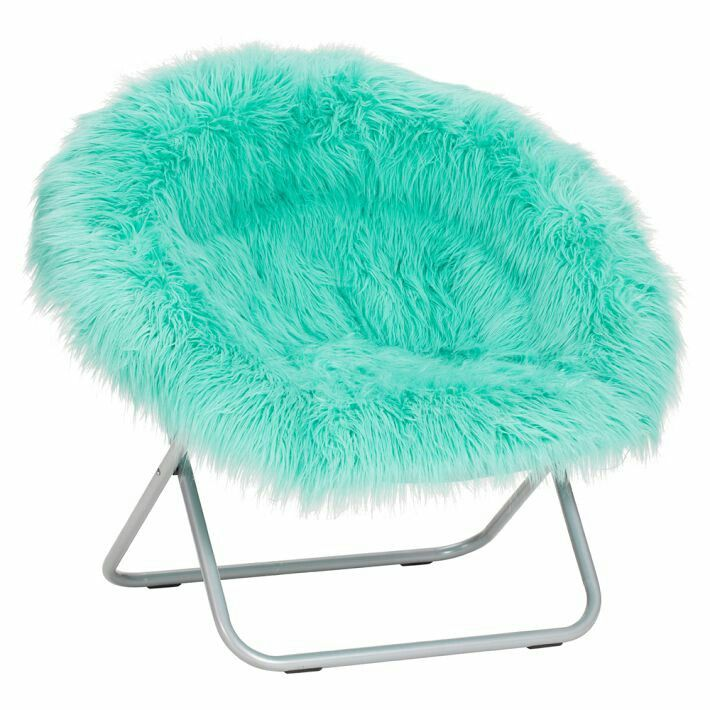 I love this cute fuzzy chair from PBTeen! | Round chair ...