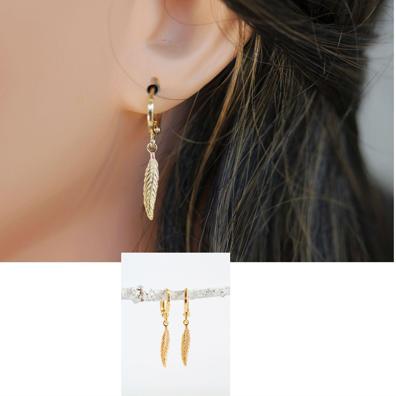 14k Gold Fill Feathers Earrings Gold Hoop Earring Small Etsy Feather Earrings Gold Feather Earrings Small Gold Hoop Earrings