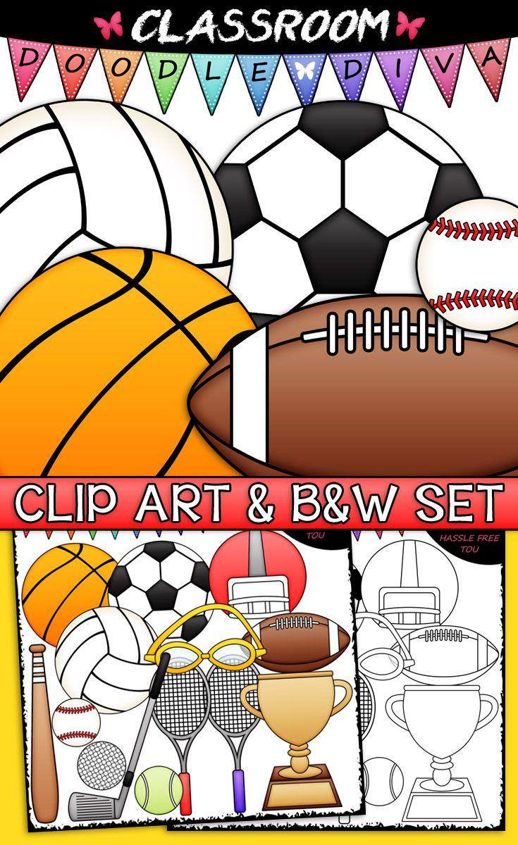 Sports Equipment Clip Art & B&W Set Clip art, Sports