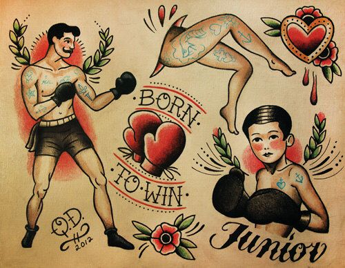 Boxing Theme Tattoo Flash Design by ParlorTattooPrints on Etsy https://www.etsy.com/listing/106341973/boxing-theme-tattoo-flash-design