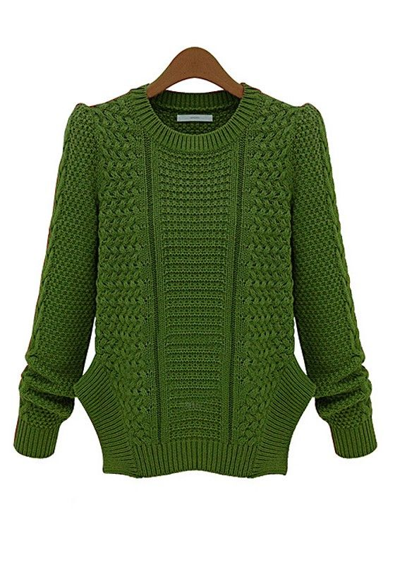 Knitting Sweaters In The Round : Green plain round neck long sleeve knit sweater cichic