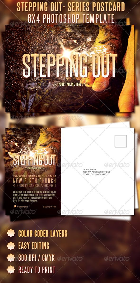 Stepping Out - Sermon Series Postcard Template - $600 Church