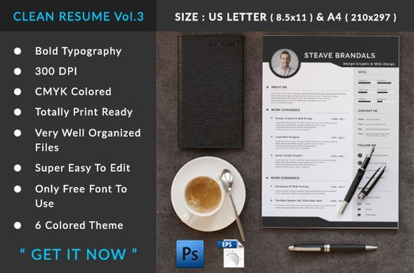 nice clean resume vol 3 creativework247 fonts graphics themes