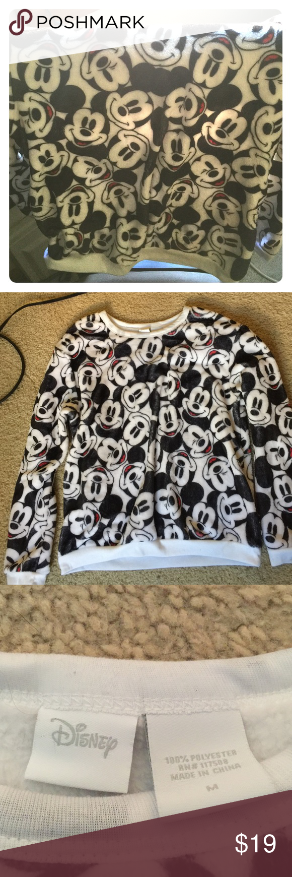 Fuzzy Mickey Mouse Sweater Brand new without tags. NEVER worn!! The sweater is completely fuzzy and super comfortable.Open to negotiate on price. Disney Sweaters Crew & Scoop Necks