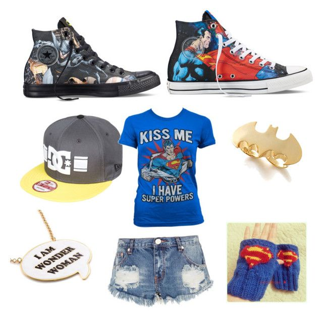 """DC Comics"" by that-crazy-fangirl44 ❤ liked on Polyvore featuring Converse, DC Shoes, Noir and One Teaspoon"